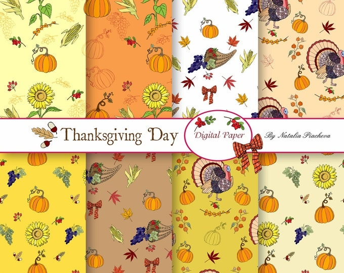Digital Papers with Thanksgiving Day Decorations, Thanksgiving, turkey, sunflower, horn, grape, maple, corn, harvest, bird, food, pumkin