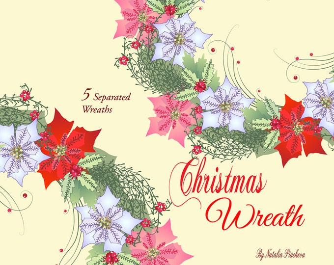 Christmas Wreath with Poinsettia Flowers.Christmas clip art , Clip Art, poinsettia, bouquet, mistletoe, Christmas gift, New Year