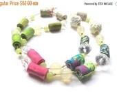 LetsPartySale Pink lime spring fiber necklace, trendy spring fiber necklace, spring fabric necklace
