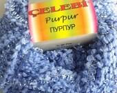 Celebi Purpur #8 Light Blue Sparkly Ringlet & Nub Novelty Ribbon Yarn 50gr 124yd