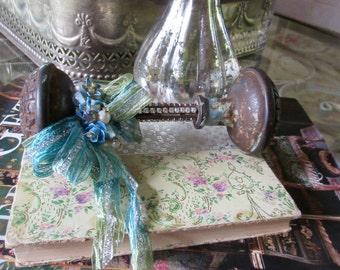 Paperweight, Vintage Brass Doorknob Set, Rhinestones, Vintage Jewelry