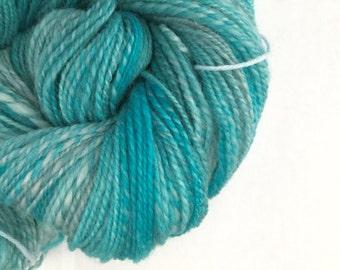 Handspun yarn  corriedale wool 2 ply blue turquoise silver sale
