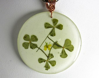 Best of Luck! , Real Four Leaf Clover (Shamrock) Pendant, Pressed Flower Jewelry  (1882)