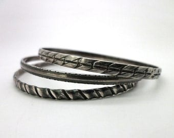 Bracelets Trio of Bangles Sterling Silver Stylized Leaves Design Dark Patina
