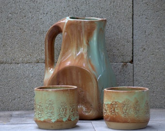 Ceramic pitcher set - pitcher set -  pitcher and glasses - handmade unique pottery - wedding gift - ceramic vase - rustic water pitcher