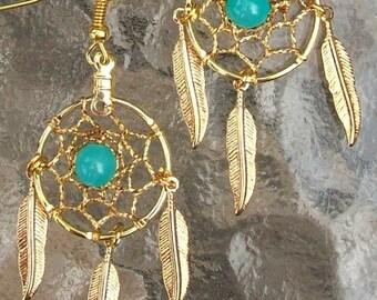 ON SALE Gold & Aqua bead dream catcher earrings -   Aqua Beauty ll
