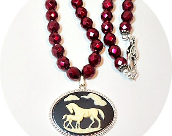 Horse Necklace, Horse Pendant, Red Necklace, Red Horse Necklace, Pendant Necklace, Equestrian Jewelry, Horse Show Jewelry