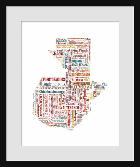 Guatemala Map Typography Map Poster Print Text Map Color