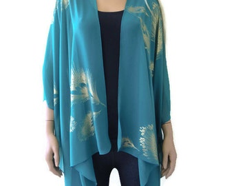 Fancy Boho Kimono cardigan -Soft Teal green  and gold with peacock feather print-Chiffon Ruana cardigan