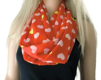 Valentines hearts-Chiffon infinity scarf -Red and white,Extra wide and long- chiffon infinity Scarf Chiffon cowl