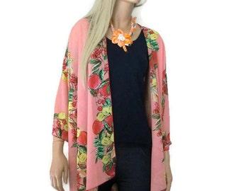 Tutti frutti Coral Boho Kimono cardigan-Colorful fruits-Coral Chiffon Ruana cardigan