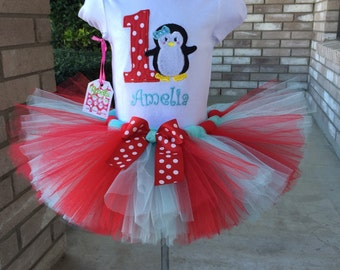 Personalized monogrammed Penguin  Birthday Collection- Red and AQUA Tutu Set