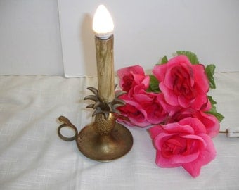 Brass Lamp  Night Light Pineapple Shape with Finger Loop Shabby Cottage Chic Vintage