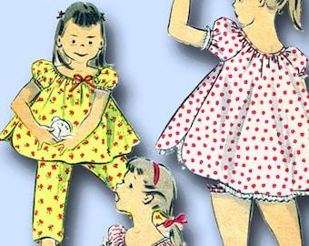 1950s Vintage Advance Sewing Pattern 6947 Toddler Girls Shortie Pajamas Size 6 8
