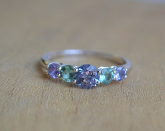 Five Stone  Ring in 14 Kt White Gold with Spinel, Tourmaline and Tanzanite