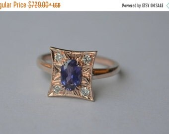 SALE Art Deco Inspired Pillow Ring in 14K Rose Gold with Sapphire and Diamond