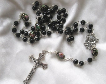 Black Onyx with Cloisonne Rosary