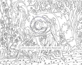 Rose Garden Trot, Trotting Horse, Horse Coloring Page, Downloadable Horse Coloring