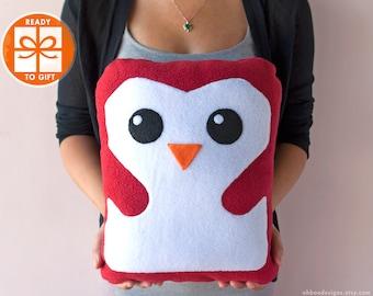 Red Penguin Plush - Penguin Pillow -  Plushie Penguin - Penguin Decor - Penguin Kids Toy - Plush Doll Kawaii - Gift Wrapped Ships Fast!