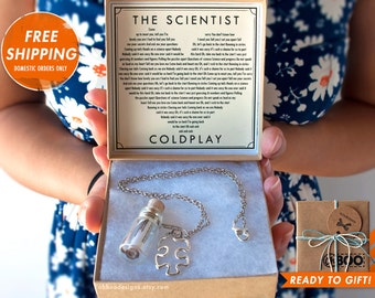 Love Song in a Bottle Necklace - The Scientist by Coldplay - Yellow - Shiver - Viva La Vida - Music Bottle Necklace -Gift Ready Ships fast!