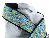 Camera Strap, Owl, dSLR, Aqua, Orange, Lime Blue, Yellow, Camera Neck Strap, Canon Strap, Nikon Strap, SLR, 118