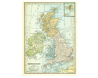 Printable download British Islands vintage map  1909 in pastel colors.  Great Britain digital background image file  for announcements.
