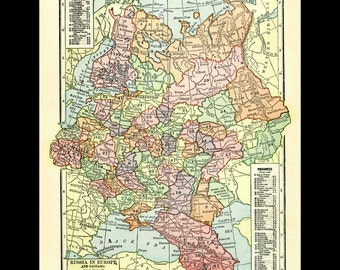 Russia in Europe printable download digital map from 1915.  Multicolored vintage USSR image  map.  Different regions marked.