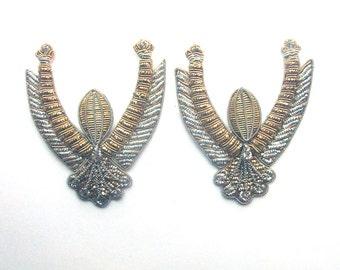 Vintage Applique Gold Silver Wire Thread Shoulder Lapel Sewing Supply Costume Embellishment Vestment Appliqué