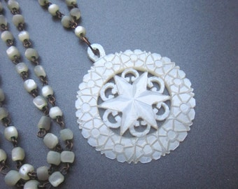 Vintage Mother of Pearl Carved Necklace Shell Jewelry MOP Jewelry