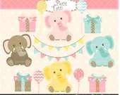 ON SALE birthday pink elephant clip art, baby girl birthday clip art, pink baby birthday clip art, INSTANT Download