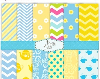 ON SALE Digital paper for all use, set of 12 Tea party digital sheets , Blue, Yellow, chevron, zig zag