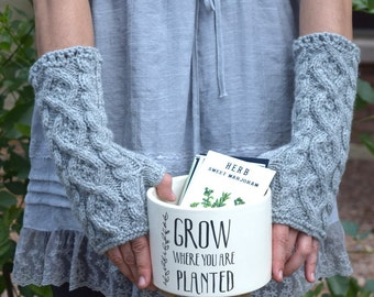 Knit arm warmers light gray romantic cable knit fingerless gloves gift for her