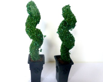 2 TWISTED TOPIARY Trees Square white black Georgian planter Dolls House Miniature Plant Handmade 12th