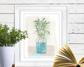 Lavender in a Jar - Herb Illustration - Printable 8x10