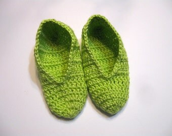 Womens Slippers, House Slippers, Lime Green, Handmade in Crochet  by NormasTreasures on etsy