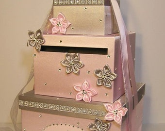 Wedding Card Box Light Pink and Silver Gift Card Box Money Box Holder--Customize your color