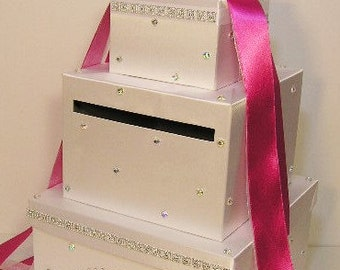 Wedding Card Box White (Hot Pink) Gift Card Box Money Card Box -customize your color