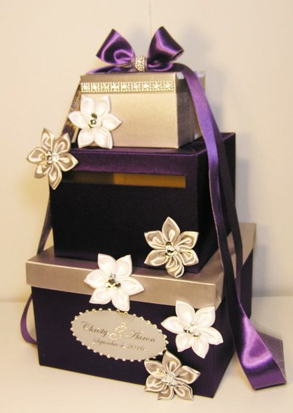 Wedding Card Box Purple and Silver Gift Card Box Money Box Holder ...