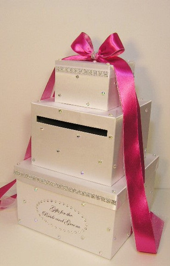 Wedding Planning Gift Box : Wedding Card Box White (Hot Pink) Gift Card Box Money Card Box ...