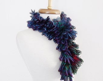 Butterfly Frill Scarf Neckwarmer- Blue Green Purple-Ready for shipping