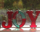 Vintage JOY Stained Glass Christmas Letters, Red and Green Sun Catchers, Hanging Tree Ornaments J O Y Word Initials