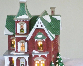 Vintage Dept 56 Victorian Christmas Decorative Light Up House, The Original Snow Village Beacon Hill Victorian Hand Painted Ceramic