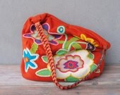 Bohemian Floral Bag Knit fabric and embroidery, Happy Hobo bag