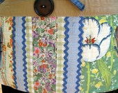 Tough Garden/Craft Tool Apron for Women--One of a Kind, Upcycled from Old Jeans, Vintage 70s Fabrics, Blue Rick Rack --  Handmade in NC