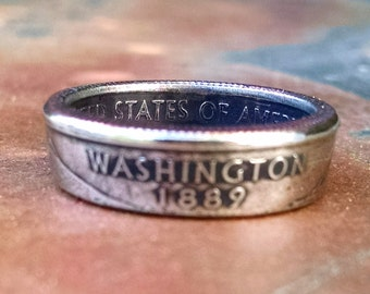Washington Quarter Ring - Coin Ring 2007 Quarter Dollar Coin Ring - Size: 6 1/2