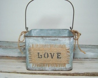 Flower girl pail . burlap love pail . square wedding pail