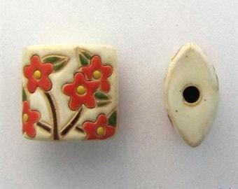 Coral Spring Bloom Pendant Bead, Pillow Beads, Golem Design Studio, Artisan Ceramic Pendants