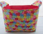 Fabric Organizer Baskets Storage Bin Container - Valentine Heart Kisses