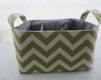 Diaper Caddy Organizer Chevron Green Zig Zag Bin Storage Basket