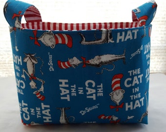 Fabric Organizer Basket Storage Bin Container Fabric  - The Cat in The Hat Dr Seuss